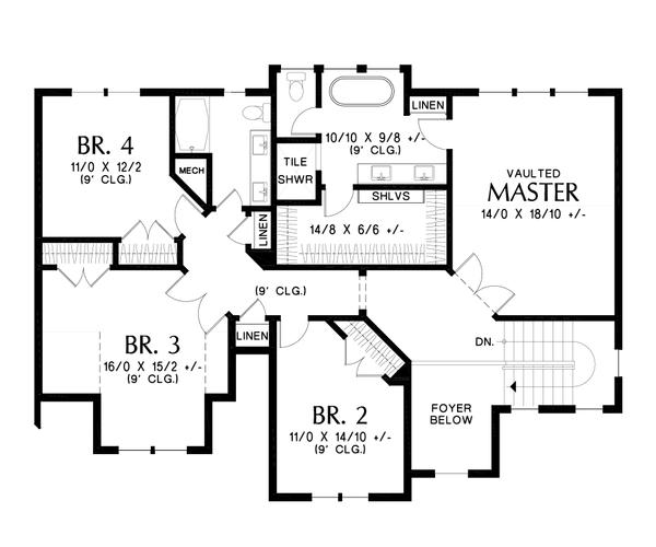 House Plan Design - Contemporary Floor Plan - Upper Floor Plan #48-986