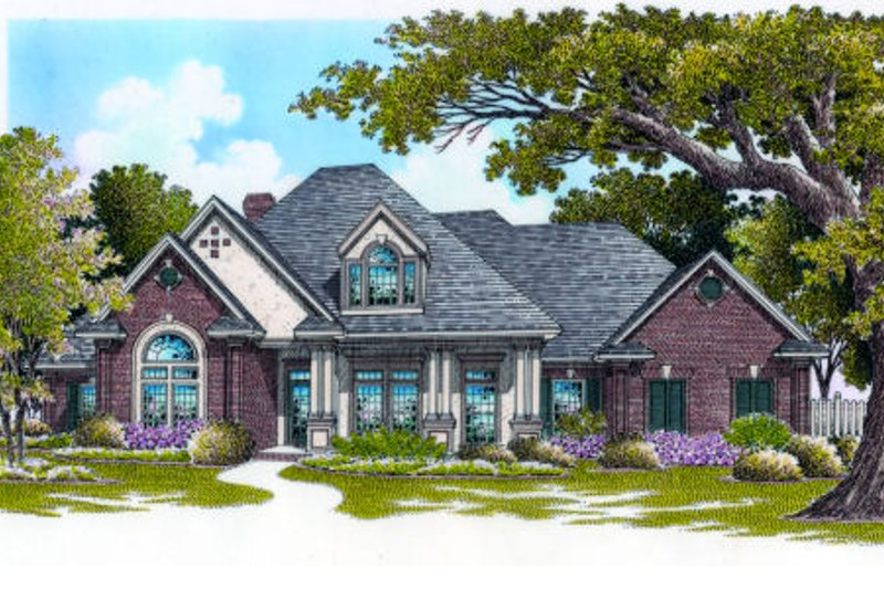 European Exterior - Front Elevation Plan #45-329