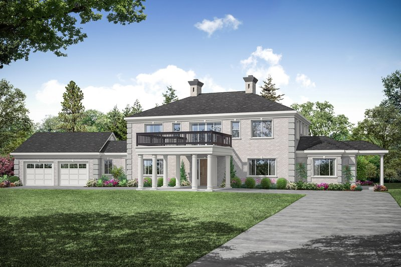 House Plan Design - Colonial Exterior - Front Elevation Plan #124-1230
