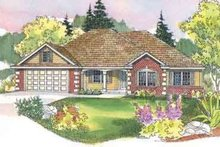 Ranch Exterior - Front Elevation Plan #124-489