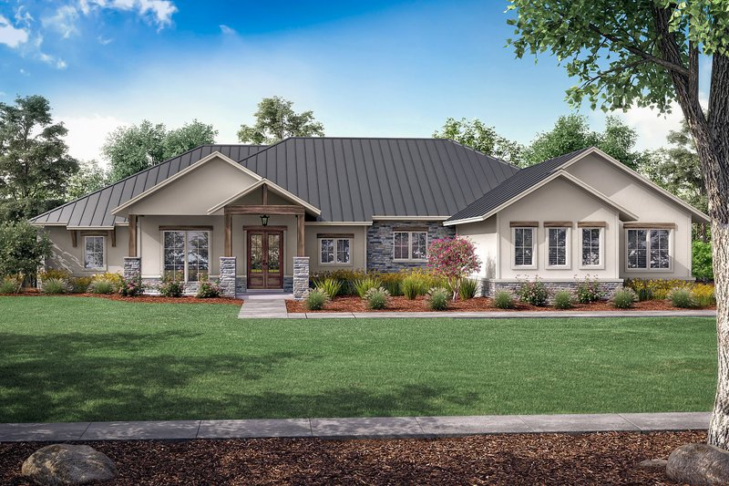 Dream House Plan - Ranch Exterior - Front Elevation Plan #430-242
