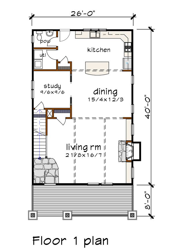 Craftsman Floor Plan - Main Floor Plan #79-301