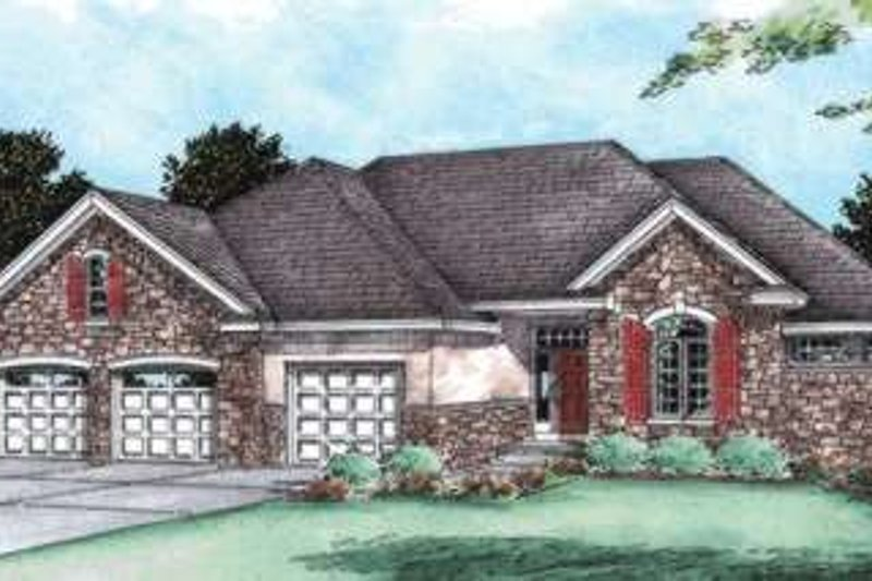 European Style House Plan - 3 Beds 2 Baths 2081 Sq/Ft Plan #20-1782 Exterior - Front Elevation