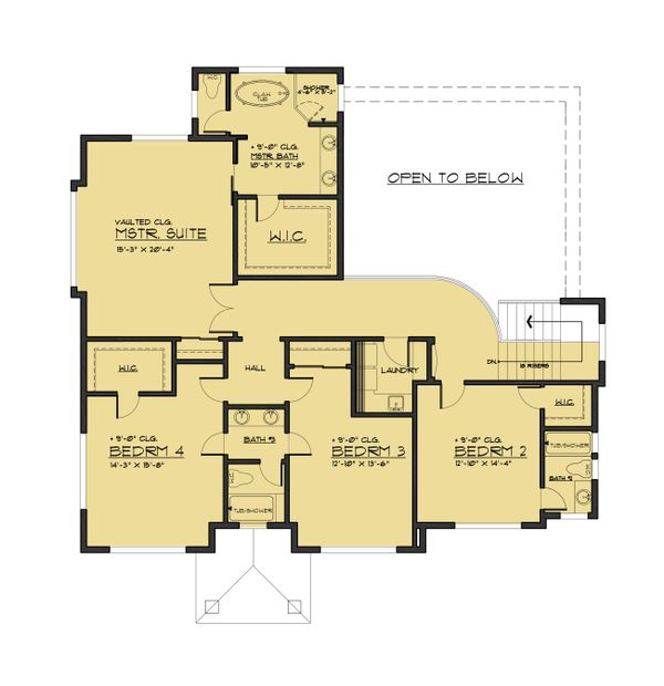 European Floor Plan - Upper Floor Plan Plan #1066-74