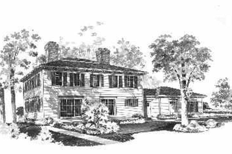 Colonial Exterior - Rear Elevation Plan #72-354 - Houseplans.com
