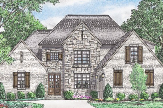 European Exterior - Front Elevation Plan #34-231