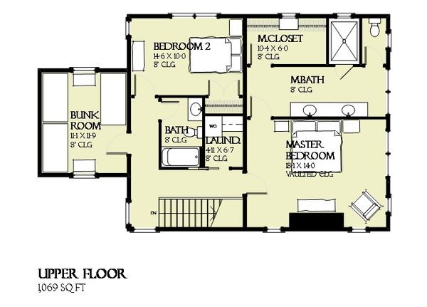 Beach Floor Plan - Upper Floor Plan Plan #901-121