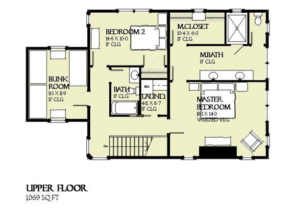 Beach Floor Plan - Upper Floor Plan #901-121