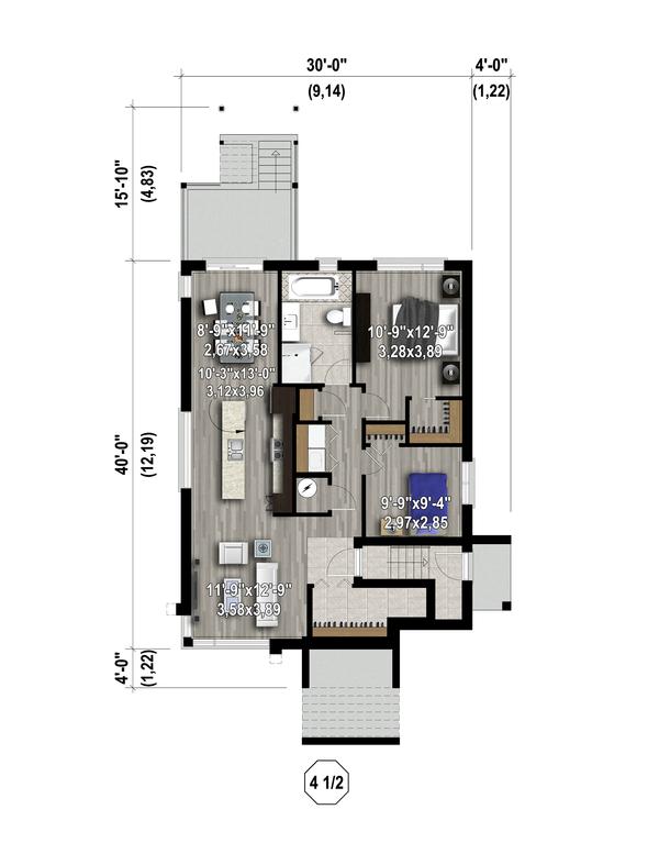 Contemporary Floor Plan - Lower Floor Plan Plan #25-4555