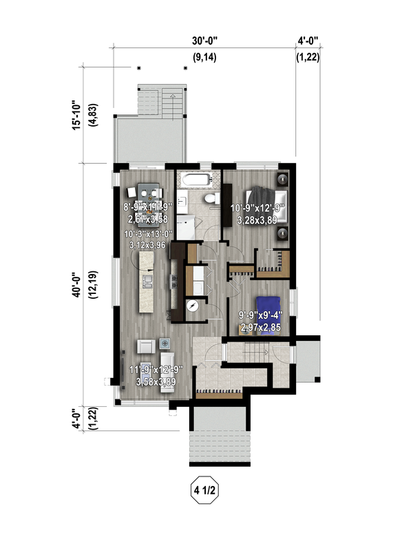 Contemporary Floor Plan - Lower Floor Plan Plan #25-4555