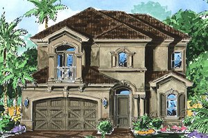 Mediterranean Exterior - Front Elevation Plan #27-351