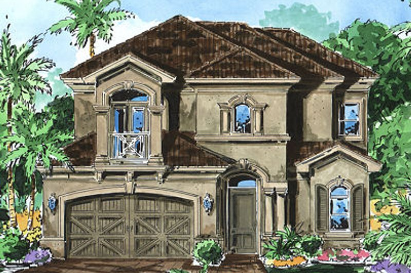 Mediterranean Style House Plan - 3 Beds 3.5 Baths 2622 Sq/Ft Plan #27-351 Exterior - Front Elevation