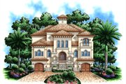 Mediterranean Style House Plan - 4 Beds 5.5 Baths 4735 Sq/Ft Plan #27-432 Exterior - Front Elevation