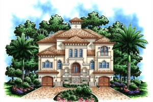 Mediterranean Exterior - Front Elevation Plan #27-432