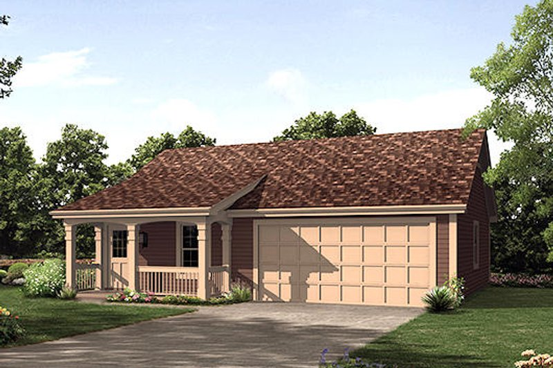 Cottage Style House Plan - 1 Beds 1 Baths 496 Sq/Ft Plan #57-400