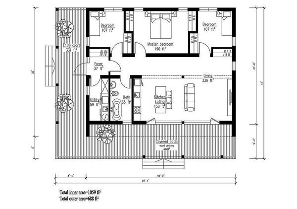 Modern Floor Plan - Main Floor Plan Plan #549-1