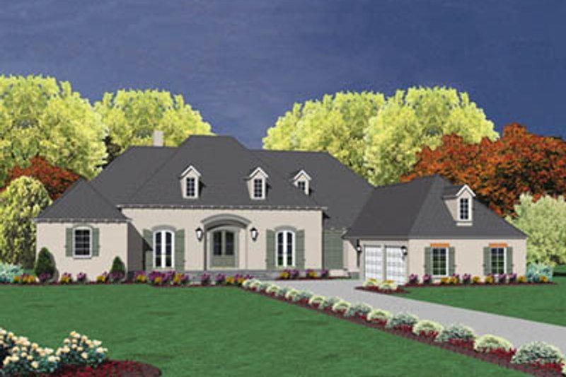 European Style House Plan - 4 Beds 3.5 Baths 4750 Sq/Ft Plan #36-246 Exterior - Front Elevation
