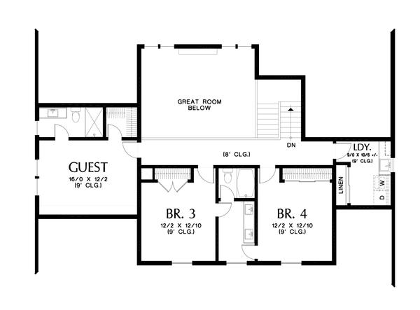 Contemporary Floor Plan - Upper Floor Plan #48-1003