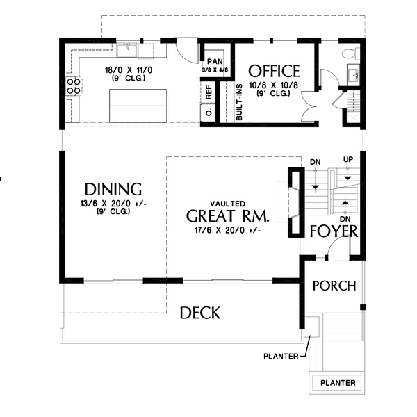 Contemporary Floor Plan - Main Floor Plan Plan #48-1019