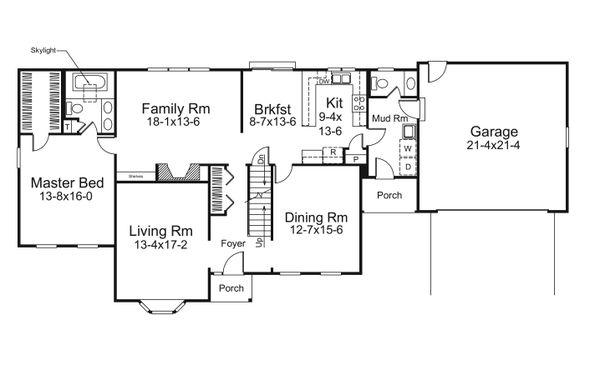 Architectural House Design - Traditional Floor Plan - Main Floor Plan #57-699