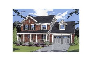 Colonial Exterior - Front Elevation Plan #46-295