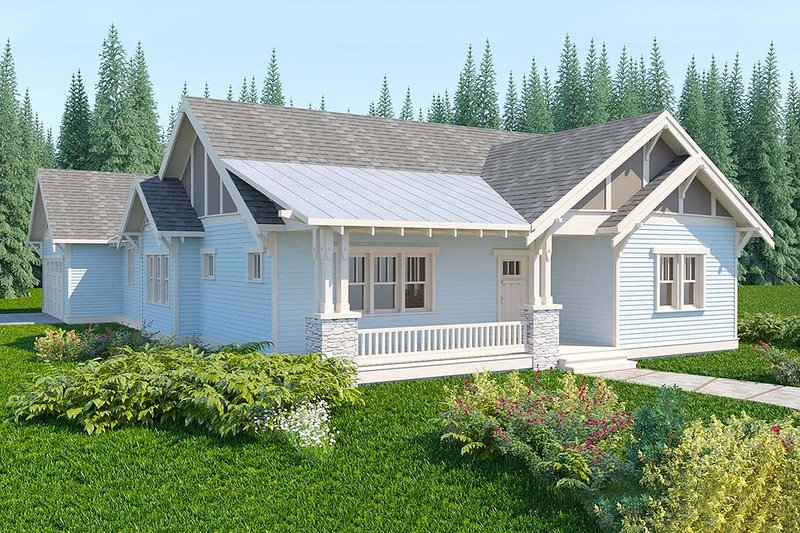 Bungalow style, Craftsman design home, front elevation