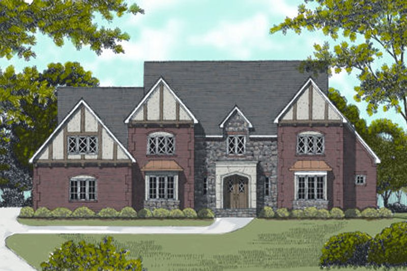 European Exterior - Front Elevation Plan #413-821