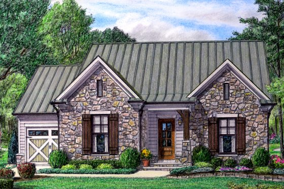 European Exterior - Front Elevation Plan #34-233