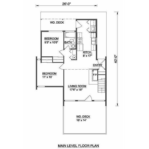 Contemporary Style House Plan - 3 Beds 2 Baths 1155 Sq/Ft Plan #116-110 Floor Plan - Main Floor Plan