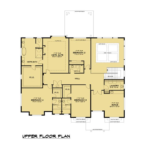 Contemporary Floor Plan - Upper Floor Plan #1066-104