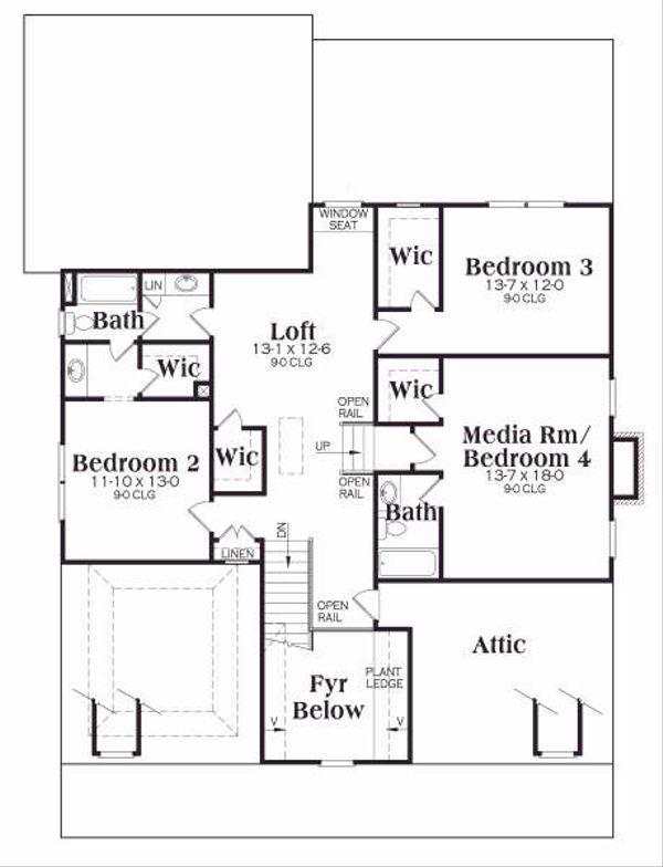 Craftsman Floor Plan - Upper Floor Plan Plan #419-162
