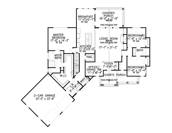 Craftsman Floor Plan - Main Floor Plan Plan #54-408