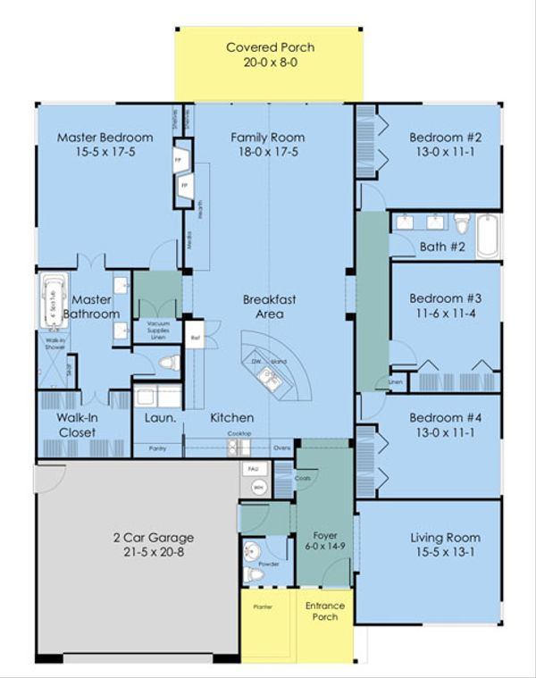 Architectural House Design - Ranch Floor Plan - Main Floor Plan #489-3