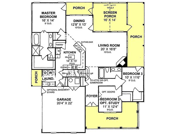 Traditional house plan, floor plan
