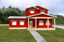 Energy efficient farmhouse - front elevation