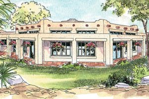 Home Plan - Adobe / Southwestern Exterior - Front Elevation Plan #124-647