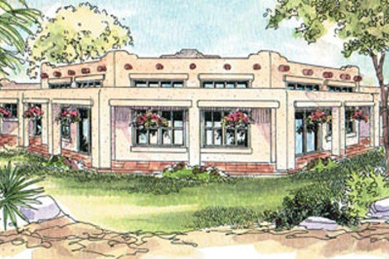 Adobe / Southwestern Style House Plan - 3 Beds 3 Baths 2431 Sq/Ft Plan #124-647 Exterior - Front Elevation
