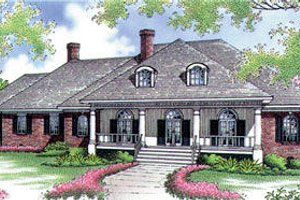 Southern Exterior - Front Elevation Plan #45-283
