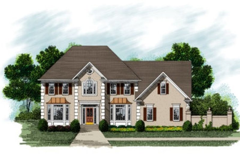 European Exterior - Front Elevation Plan #56-215