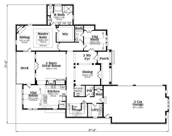 European Floor Plan - Main Floor Plan Plan #419-304