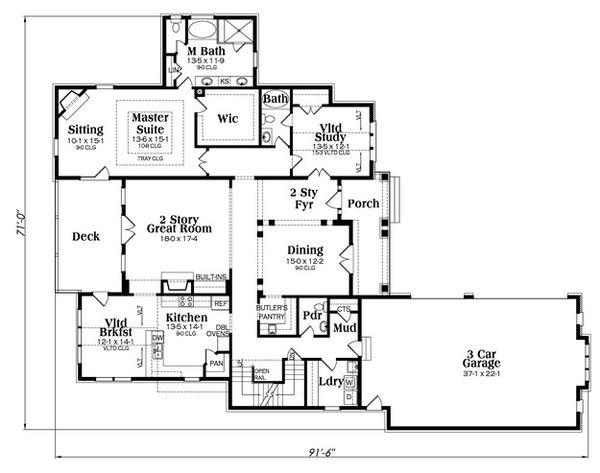 European Floor Plan - Main Floor Plan Plan #419-304