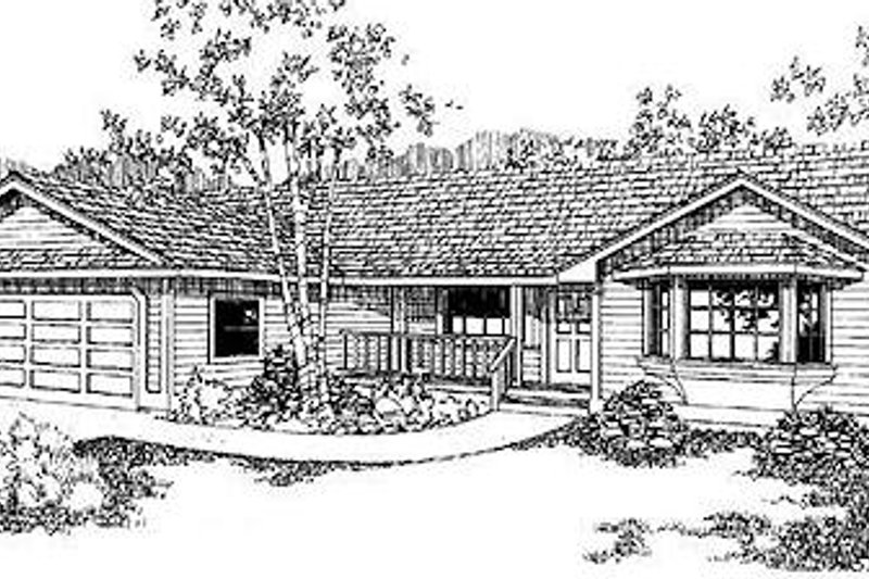Ranch Exterior - Front Elevation Plan #60-144 - Houseplans.com