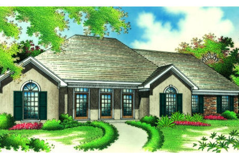 European Style House Plan - 3 Beds 2 Baths 1868 Sq/Ft Plan #45-361 Exterior - Front Elevation