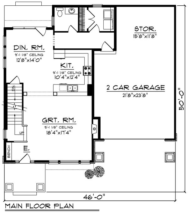 Traditional Floor Plan - Main Floor Plan Plan #70-1194