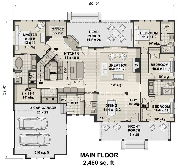 Farmhouse Style House Plan - 4 Beds 3.5 Baths 2480 Sq/Ft Plan #51-1144 Floor Plan - Main Floor Plan