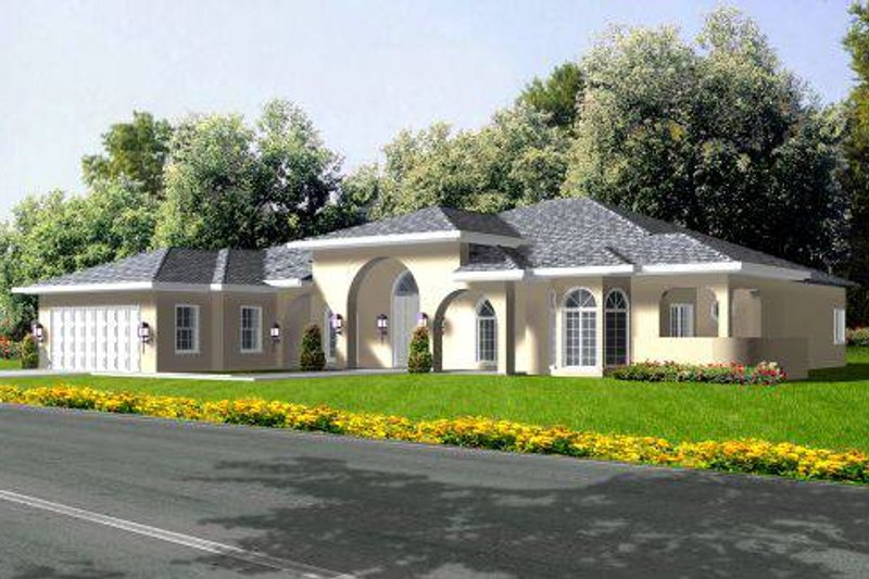Adobe / Southwestern Style House Plan - 3 Beds 2 Baths 2548 Sq/Ft Plan #1-602 Exterior - Front Elevation