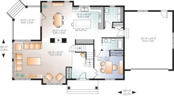 Craftsman Floor Plan - Main Floor Plan Plan #23-2707