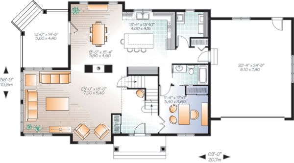 Craftsman Floor Plan - Main Floor Plan Plan #23-2707