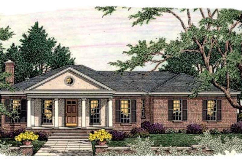 Southern Exterior - Front Elevation Plan #406-283