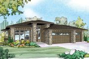 Prairie Style House Plan - 3 Beds 2.5 Baths 2579 Sq/Ft Plan #124-924 Exterior - Front Elevation